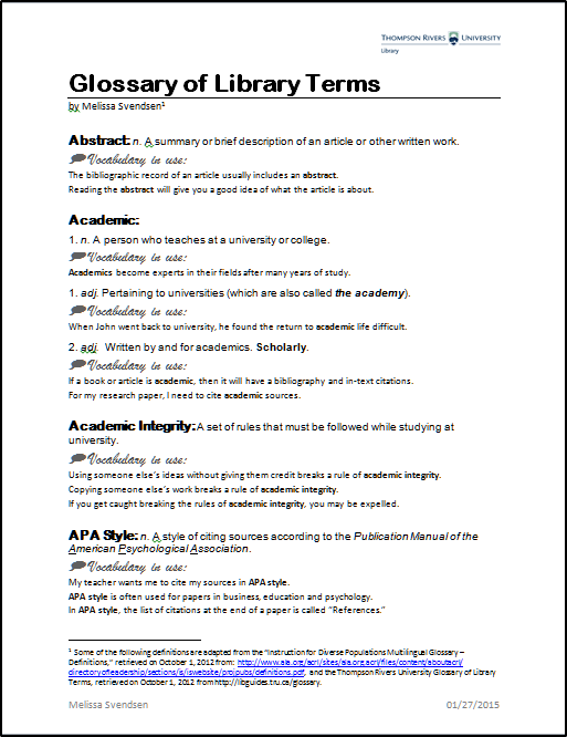 glossary of research paper terms Glossary 5-paragraph essay – the essay of typical structure,  research essay – the essay that tries to prove some idea or point of view it may be considered a type of persuasive essay, but presupposes the presence of original author's idea  used as default for writing research papers.